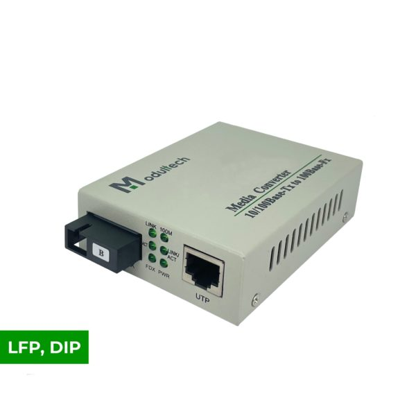 WDM-Медиаконвертер, 10/100-Base-T ̶ 100Base-FX, Tx:1550/Rx:1310, 80км, LFP