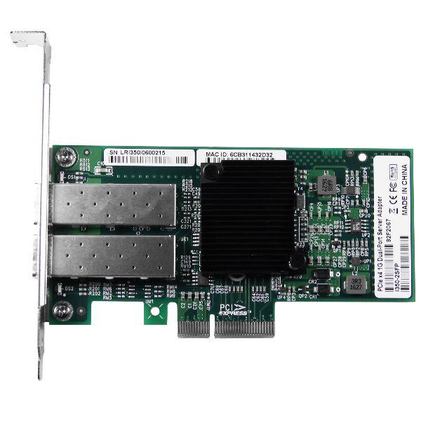 Сетевая карта Gigabit Ethernet, 2 SFP порта, 2*10/100/1000Base-X, 1,25 Гбит/с, Intel i350