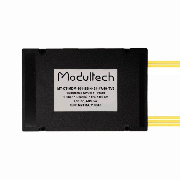 Мультиплексор CWDM одноволоконный 1-канальный 1470,1490 + выделенный TV канал 1550, abs box