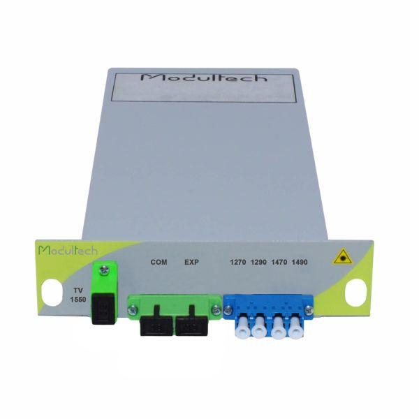 Мультиплексор CWDM одноволоконный 2-канальный (1270, 1290, 1470, 1490 нм) нм) + выделенный TV канал 1550, LGX