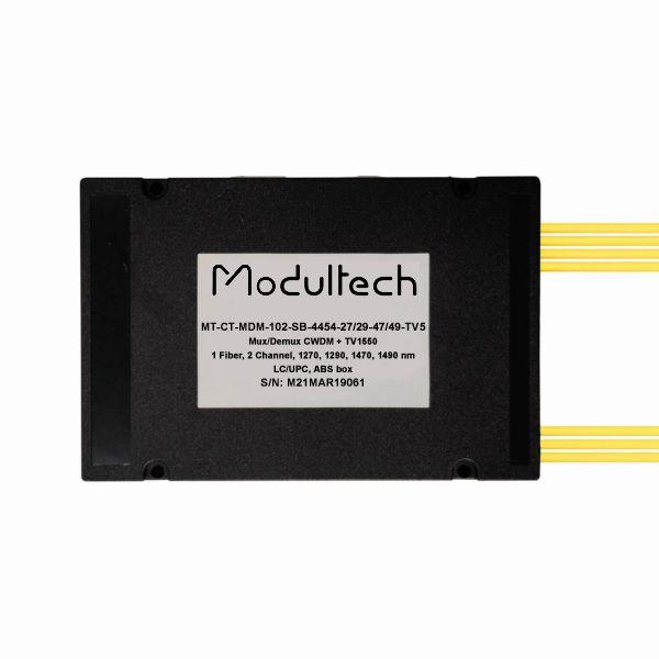 Мультиплексор CWDM одноволоконный 2-канальный (1270, 1290, 1470, 1490 нм) + выделенный TV канал 1550, abs box