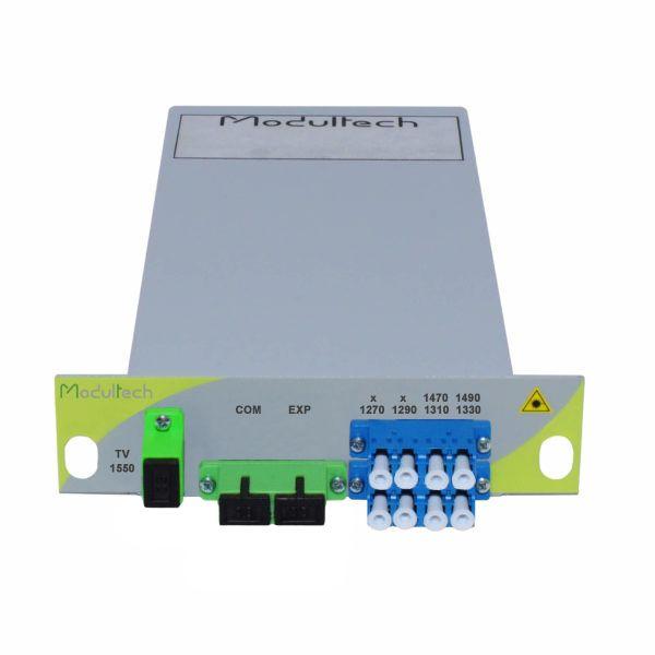Мультиплексор CWDM одноволоконный 3-канальный (1270-1330, 1470, 1490 нм) + выделенный TV канал 1550, LGX