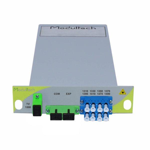 Мультиплексор CWDM одноволоконный 4-канальный (1310-1410, 1470, 1490 нм) + выделенный TV канал 1550, LGX
