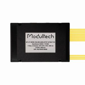 Мультиплексор CWDM одноволоконный 4-канальный (1270-1370, 1470, 1490 нм) + выделенный TV канал 1550, abs box