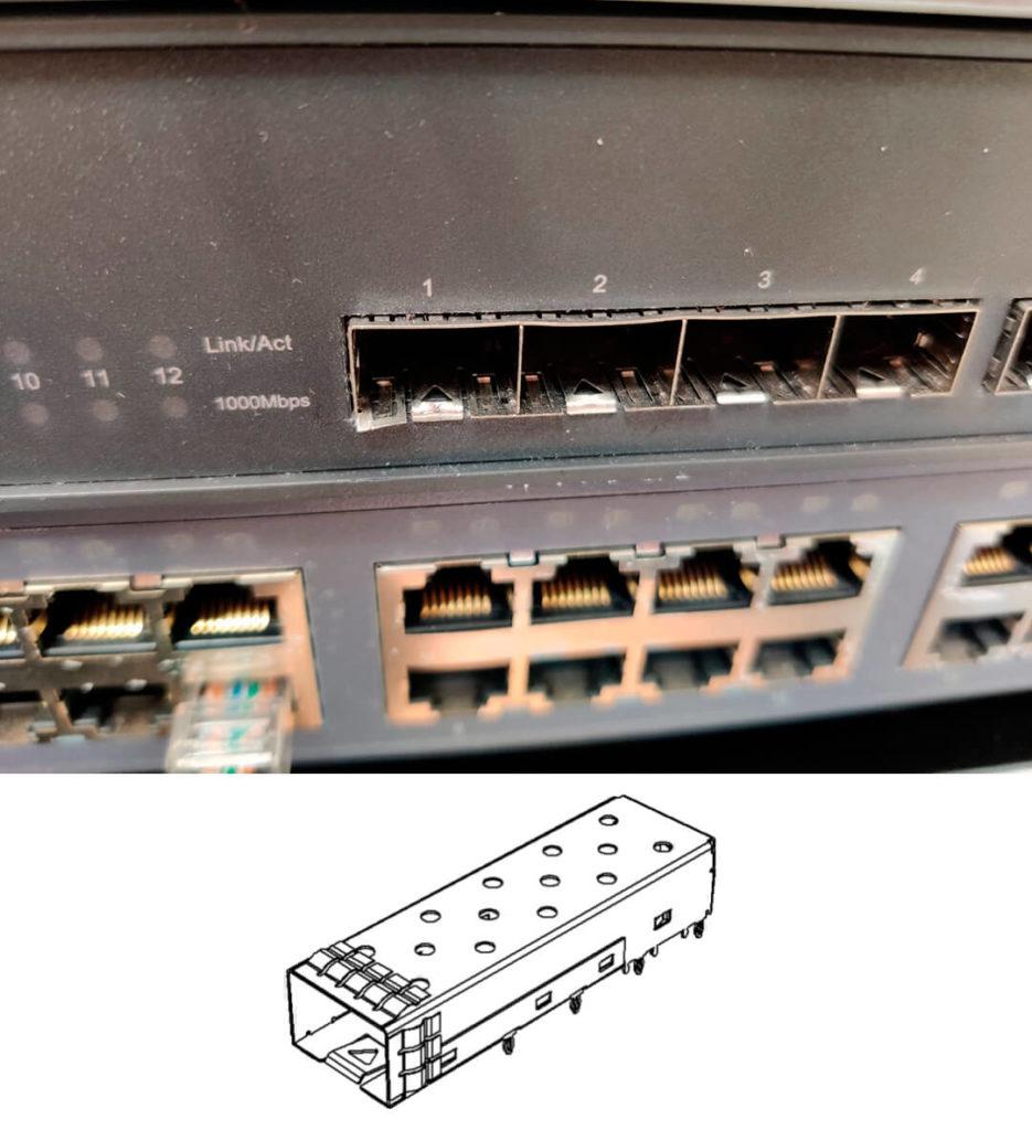 Поврежденный порт и схема SFP порта